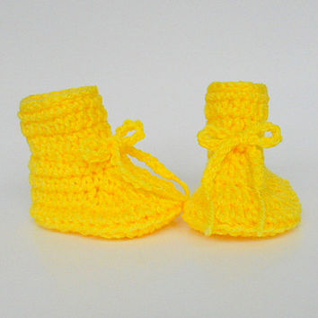 Bright Yellow Baby Booties 6 To 9  Month Old  Infant Girl  Slippers Boy  Crib Shoes
