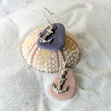 Anchor and Beach Stone Hoop Earrings - Hoop Earrings - Anchor Earrings - Beach Stone Earrings - Nautical Fashion - Summer Fashion