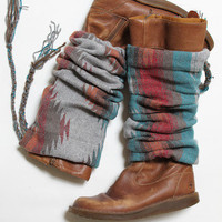 TRIBE VIBE Wool Legwarmers/boot cuffs/boot warmer/boot accessory/tribal boots scarf/fall fashion/Handmade/Original Design/cowgirl