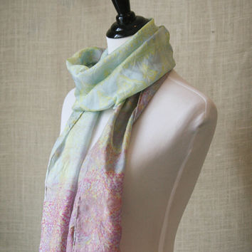Turmeric Bloom,  eco friendly, hand dyed silk scarf,classic style scarf, artisan dyed using recycled silk, wearable art,  unique accessories
