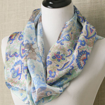 Kashmir's Paisley...hand dyed, artisan, infinity style, silk scarf. Eco-dyed using recycled silk.