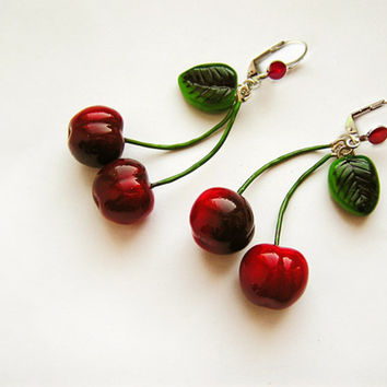 Red Cherry Earrings, pin-up jewelry, cherries