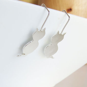 Fine Cat Silver Dangle Earrings - 925 Sterling Silver Earrings - For Everyday Use - Simple Handmade Jewelry