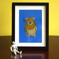 Nursery Art Star Wars Ewok Illustration by LetsAllMakeBelieve