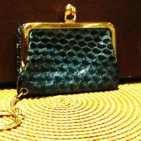 vintage teal snakeskin key chain change purse. coin purse. made by Monette