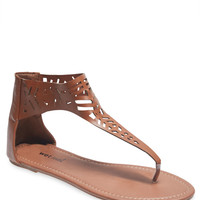 Boho Cut Out Cuff T-Strap Sandals | Wet Seal