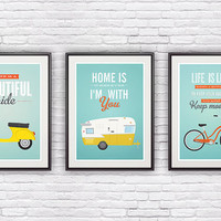 Motivational poster set of  3 prints, quote print, nursery wall decor, geekery, vespa, bicycle poster, positive words  A4 or 8x10