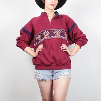 Vintage 90s Sweatshirt 1990s Pullover Southwestern Knit Striped Sweatshirt Soft Grunge Sweater Burgundy Red Navy Jumper Tshirt M L Large XL