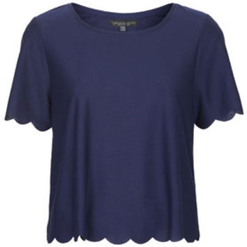 PETITE Scallop Frill Tee - T-Shirts - Tops - Clothing
