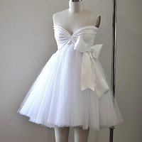 A-line Sweetheart Tulle Short/Mini Cocktail Dress With Bow at Dresseshop