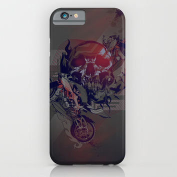 Until One of Us Starts Raving - Skull and Motorbikes  iPhone & iPod Case by Orlberos Skull Designs
