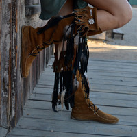 ON SALE Custom Upcycled Embellished Vintage Moccasin Fringe Boots