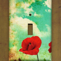 Oversized 35 x 525 Poppy & Blue Skies Switchplate by TurnMeOnArt