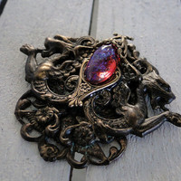 Guardians of Dragonheart -- Antique bronze pendant with dragon's breath opal