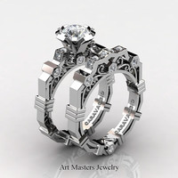 Caravaggio Modern 14K White Gold 1.0 Ct White Sapphire Diamond Engagement Ring Wedding Band Set R624S-14KWGDWS