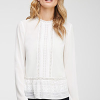 Embroidered Chiffon Peplum Blouse