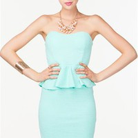 A'GACI Textured Sweetheart Peplum Dress - DRESSES