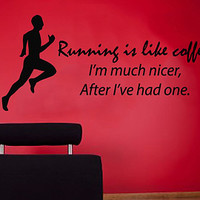 Wall Decals Vinyl Decal Sticker Sport Quote Running Is Like Coffee Boy Athlete Fitness Art Home Interior Design Living Room Gym Decor KT68 - Edit Listing - Etsy
