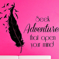 Wall Decals Vinyl Decal Sticker Life Quote Seek Adventures That Open Your Mind Birds Feather Art Home Interior Design Living Room Decor KT71 - Edit Listing - Etsy