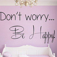 Wall Decals Vinyl Decal Sticker Home Interior Design Art Mural Life Quote Don't Worry Be Happy Wording Kids Nursery Baby Room Decor KT73 - Edit Listing - Etsy