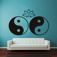 Wall Decals Vinyl Decal Sticker Bedroom Home Interior Design Art Mural Mandala Indian Pattern Amulet Yin Yang Sign Lotus Flower Decor KT75