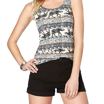 Soft Brushed Victorian Elephant Tank Top