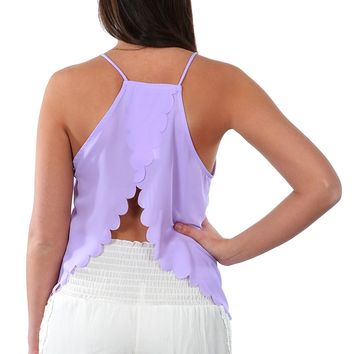 Open Back Scalloped Tank - Lilac
