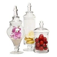 Designer Clear Glass Apothecary Jars (3 Piece Set) Decorative Weddings Candy Buffet - MyGift®