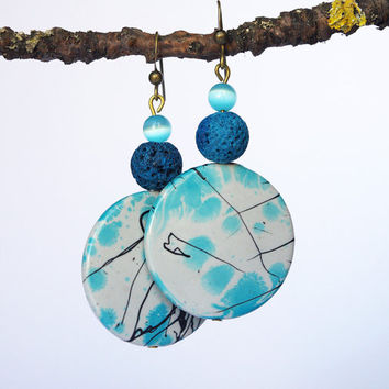 Blue earrings, Boho earrings, abstract earrings dangle