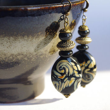 Black and beige earrings, Boho earrings, glass beads earrings dangle