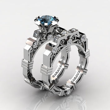 Caravaggio Modern 14K White Gold 1.0 Ct Swiss Blue Topaz Diamond Engagement Ring Wedding Band Set R624S-14KWGDBT