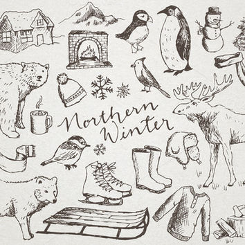 Snowy Northern Winter Illustrations