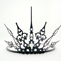 White Gothique 2.0  - Black Filigree Gothic Tiara - Ready to Ship