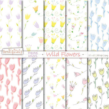Pastel Flowers Digital Paper Pastel Floral Paper Digital Flower Paper Baby Pastel Background Flower Background_Personal+Small Commercial Use