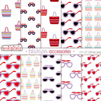Summer Fashion Digital Paper Printable Background Summer Fashion Pattern Bags Sunglasses Red Violet Paper Scrapbook _Personal+Commercial Use