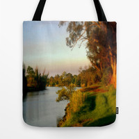 Banks of the Thompson River Tote Bag by Chris' Landscape Images Of Australia