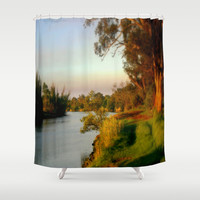 Banks of the Thompson River Shower Curtain by Chris' Landscape Images Of Australia