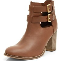 Tan Leather Cut Out Buckle Strap Block Heel Ankle Boots
