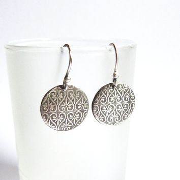 Textured disc earrings, silver earrings, dangle earrings