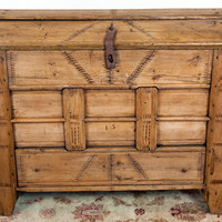 Antique Primitive and Rustic Walnut Trunk