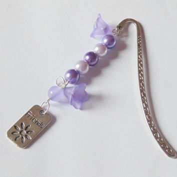 Purple Friends beaded bookmark with lucite flower beads