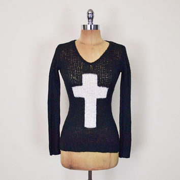 Vintage 90s Black & White Cross Sweater Jumper Top Open Knit V-Neck 90s Sweater 90s Grunge Sweater 90s Goth Sweater 90s Club Kid Sweater XS