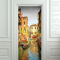 "GIANT Door STICKER water Venice boat city sea Italy poster 31x79""(80x200cm)"