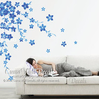blue cherry  blossom wall decals flower vinyl wall decals nursery wall decals sticker children wall decal- cherry blossom Z125 cuma