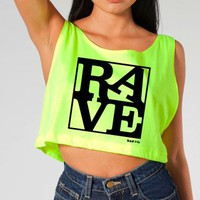 Rave Shirts - &quot;RAVE&quot; - Women&#x27;s Neon Crop Tops, Tanks and Tees - Bad Kids Clothing  Bad Kids Clothing