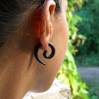 Small Spirals Organic Wooden Fake Gauges Blk by TribalStyle