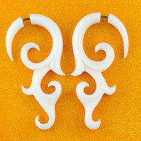Bone Earrings Aviv Vine Curls Bone Fake gauges by TribalStyle