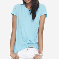 ONE ELEVEN KNOT FRONT TEE - BLUE from EXPRESS