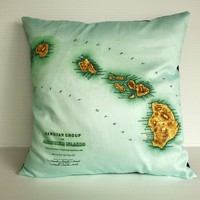 Vintage map, cushion , pillow eco friendly Organic cotton vintage map of Hawaii, 16 inch, 41cm