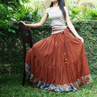NO.25 Rust Cotton, Hippie Gypsy Boho Tiered Peasant Skirt